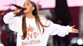 Ariana Grande performs at the One Love Manchester benefit concert.