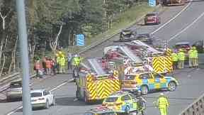 Cardonald: A total of 10 vehicles are involved in the crash on M8.