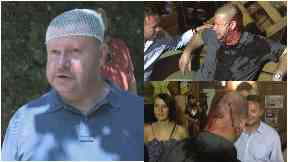 Hooligans: Dons fan Neil Harper was left seriously injured.