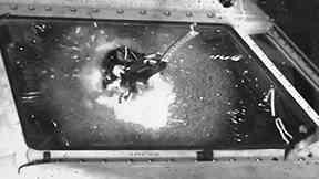 Balpa image of drone smashing window of passenger plane during lab test