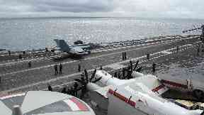 American fighter jet on board USS George H W Bush