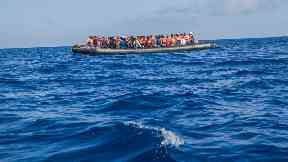 A boat carrying illegal migrants off the coast of Libya.