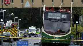 Bus crashes into walkway at Edinburgh's Western General hospital.