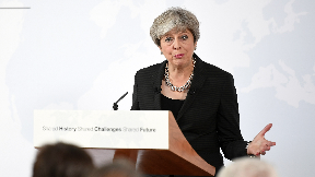 Theresa May speaking in Florence September 22 2017.