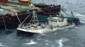 The Sapphire fishing vessel being returned to Peterhead following the loss of four lives