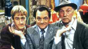 Sir David as Del Boy with characters Rodney and Uncle Albert.