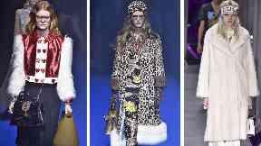 Gucci models walking the runway earlier this year.