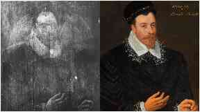 Collage of Mary Queen of Scots portrait hidden behind John Maitland painting.