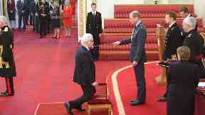 Billy Connolly being knighted at Buckingham Palace October 31 2017