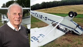 Pilot Stewart Russell with crashed plane