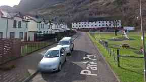 Park Road, Kinlochleven. Deliberate fire gutted flat here.