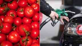 Rise in the food was offset by a fall in petrol costs.