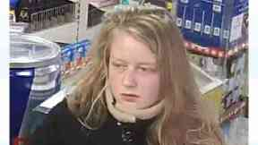 Handout still issued by Dorset Police taken from CCTV dated 7/11/2017 of Gaia Pope that were taken less than an hour before she disappeared.CCTV shows Gaia at a petrol station near Swanage on the afternoon she went missing