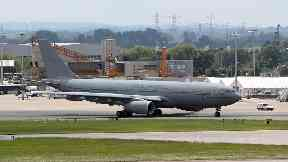 The RAF Voyager took off from Brize Norton, Oxfordshire, and arrived in Argentina on Wednesday.