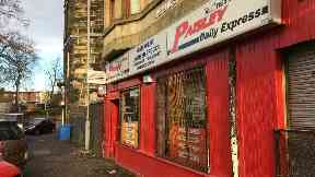 Robbery at Parkash newsagents, Clarence Street, Paisley, November 26 2017.