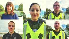 Retired PC Kirsteen McArthur, PC Carolyn Wright, PC Andy Sawers, PC David Ritchie & PC Calum McDougall. Battled to save Kirsten and Amy Duguid.