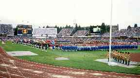 Meadowbank Stadium Commonwealth Games opening ceremony 1986