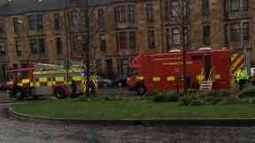Hospital: Cordon put in place. New Victoria Hospital Glasgow