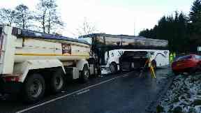 School bus crash at Maryculter Bridge near Aberdeen.