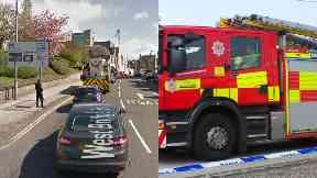 Falkirk: Road has been closed. West Bridge Street