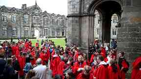 New students at the University of St Andrews congregate in St Salvator's College quad.