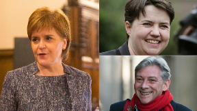 Composite of Scottish party leaders Nicola Sturgeon, Ruth Davidson and Richard Leonard.