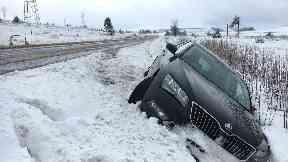 Snowy crash off the A713 near Dalmellington.
