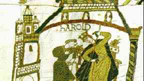 The crowning of King Harold named as Earl of Wessex, depicted by the Bayeux tapestry