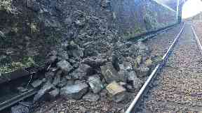 Landslip: Route was closed on Wednesday.