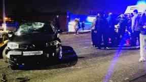 Broomfield Road: Police closed road. Glasgow