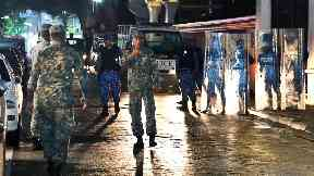 Soldiers patrol the streets after the state of emergency was declared.