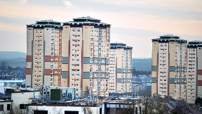 High-rise tower blocks in Motherwell.
