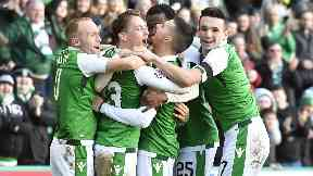 Victory: Hibs defeated second-placed Aberdeen.