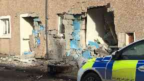 Land Street in Buckie after digger crash