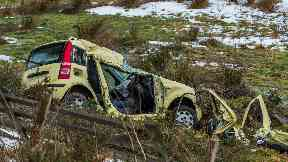 Yellow fiat panda in fatal crash near Rothiemay in Moray.
