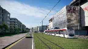 Artist's impression of Edinburgh Tram extension to Newhaven.