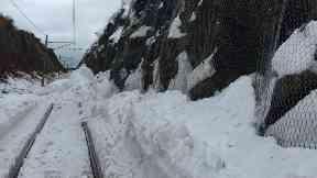North Berwick railway line blocked by snow.