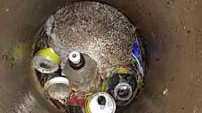 RSPCA were called to a wild rabbit stuck six-feet down a manhole