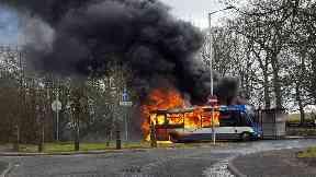 Bus on fire in Steelend, Fife. March 23 2018.