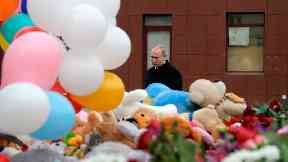 Vladimir Putin visited a memorial in Kemerovo on Tuesday.