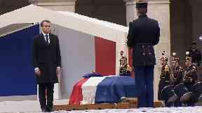 French President Emmanuel Macron delivered a public eulogy in front of colleagues and family of Mr Beltrame.