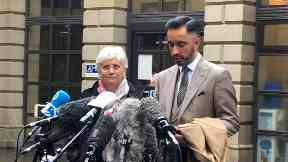 Clara Ponsati with Aamer Anwar outside Edinburgh Sheriff Court March 28 2018