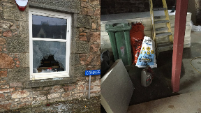 Petrol bomb attack in The Station Hotel, Insch, Aberdeenshire.