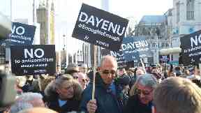 A protest against anti-Semitism in London last week.