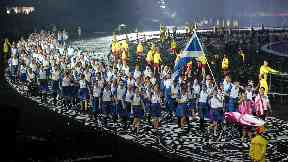 Team Scotland lead out the Commonwealth Games opening ceremony.