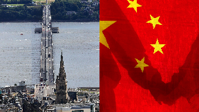 Dundee and Chinese flag collage