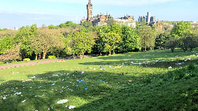 Mess left behind at Kelvingrove Park on May 15 2018.