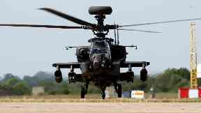 RAF Apache attack helicopter at Wattisham in Suffolk