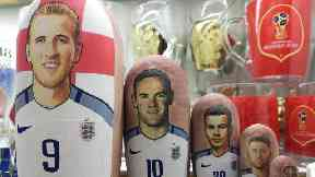 Harry Kane Russian doll on sale at Moscow souvenir shop