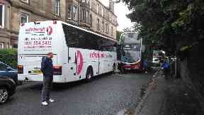 Two bus crash on Ferry Road, Edinburgh. UGC. June 20 2018